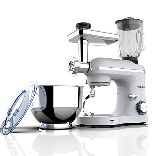 Nurxiovo 850W 6.5QT Food Mixer, Kitchen Stand Mixer with Tilt-Head 6 Speed, 3 in 1 Standing Mixers with Dough Hook,Whisk,Beater,Meat Blender and Juice Extracter,Silver