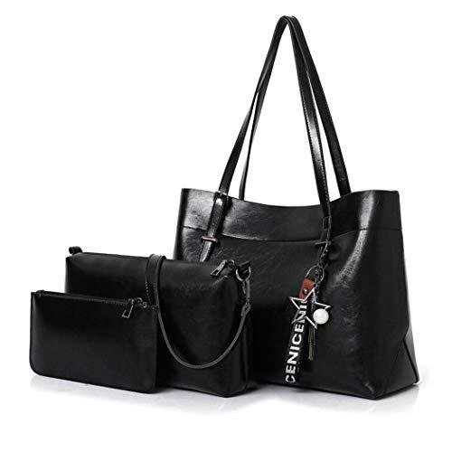 AINUOEY Mujer Bolsos Bandolera Vestir Casual de Hombro Bolsos de Mano Convertible 3 piezas Fekete