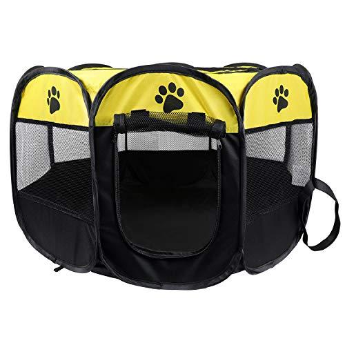 KEESIN Faltbarer Haustiere Laufstall, 8 Teiliges Netz Haus Welpenzelt Zwinger für Hund Katze Kaninchen Kleintiere (73 * 73 * 43cm, Gelb)