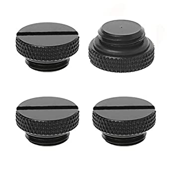 Tee Vee 4-Pack G1/4  Plug Fitting with Coin Slot for PC Water Cooling Radiator  Black-4