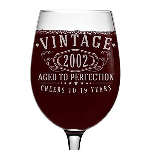 Vintage 2002 Copa de vino grabada de 473 ml – 19 cumpleaños envejecido a la perfección – regalos de 19 años