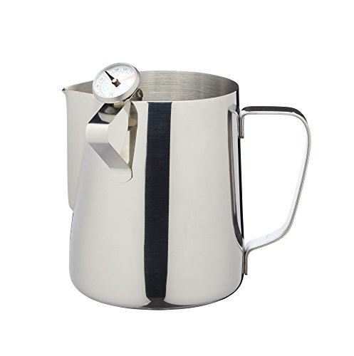Le'Xpress Stainless Steel Milk Jug with Frothing Thermometer, 600 ml (1 Pint)