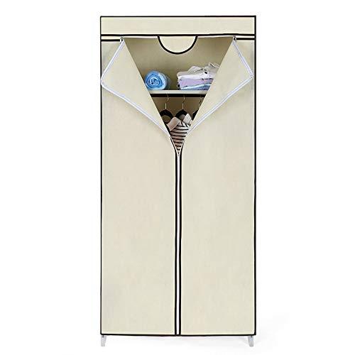 LCSA Faltschrank Stoffschrank Kleiderschrank Campingschrank Garderobe Schrank Regal (Color : Beige - RYG83M)