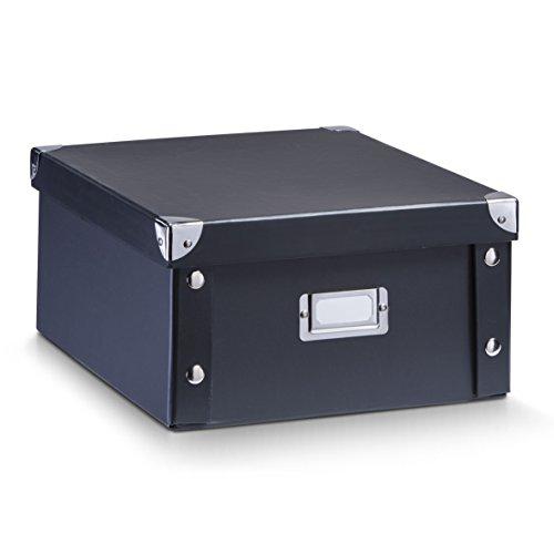 Zeller 17918 Aufbewahrungsbox, Pappe, schwarz, ca. 31 x 26 x 14 cm