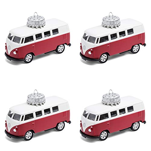 corpus delicti :: Christbaumschmuck aus Metall – die rollende Alternative zur Weihnachtskugel – VW Bus T1 Bulli (4er Set rot)