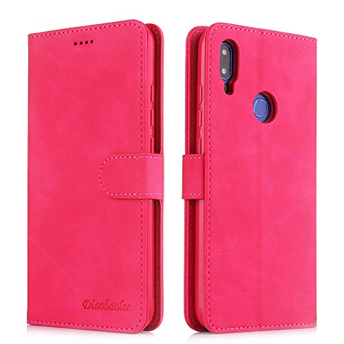 Capa para celular RedMi Note 7,[capa de couro TPU de alta qualidade] [carteira] [capa para celular com fivela magnética],vermelho