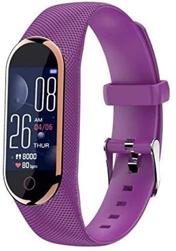 QING YUAN Pulsera inteligente recargable Bluetooth 4.0, monitor de temperatura del cuerpo, ritmo cardíaco, presión arterial, salud, impermeable, correa de reloj púrpura