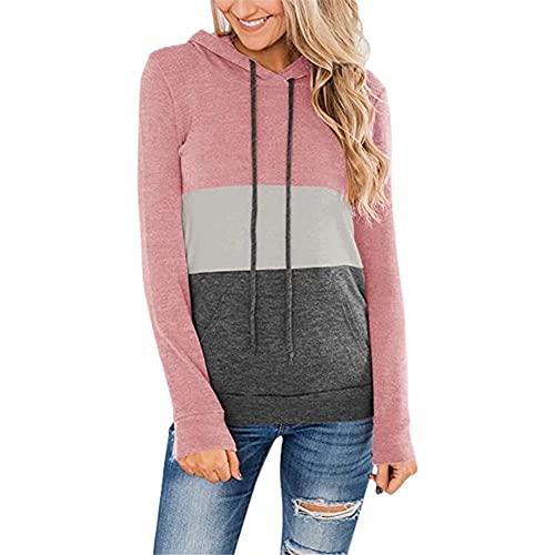 LYAZFC Suéter con Capucha de Lana y Costuras de Color sólido para Deportes de Ocio de otoño/Invierno para Mujer