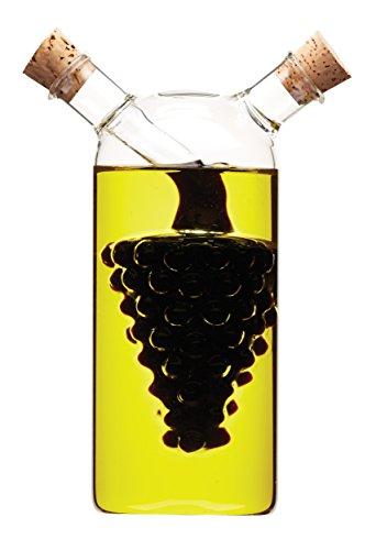 Kitchen Craft World of Flavours - Bottiglia di Vetro 2 in 1 per Olio e aceto, Motivo: Grappolo D'uva