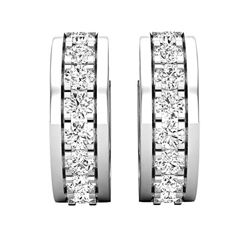 Dazzlingrock Collection 1.45 Carat (ctw) Round Lab Grown Diamond Ladies Huggies Hoop Earrings 1 1/2 CT, 18K White Gold