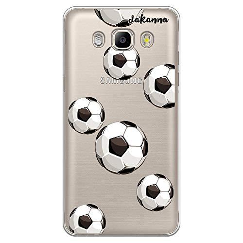 dakanna Funda para Samsung Galaxy J5 2016 | Patrón Balón de Fútbol | Carcasa de Gel Silicona Flexible | Fondo Transparente