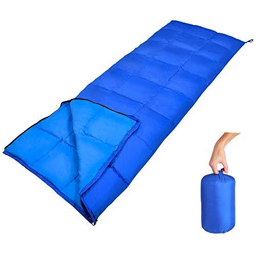 GEERTOP Leichter Komfort Daunenschlafsack 10 C/50 F mit tragbarem Stoffsack für Innenisolierung und Outdoor-Wandern, Rucksackreisen und Camping (blau)
