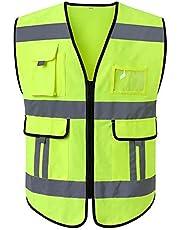 Lantra Besa Mujer Hombres Adulto Unisex Chaqueta Reflectante de Alta Visibilidad Chaleco de Seguridad para Auto Motocicleta Ciclismo Corriendo Amarillo (Type 13 14 15 Tamaño no Estándar)