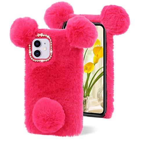 LCHDA Plüsch Hülle für Samsung Galaxy A72 5G, Schön 3D Panda Ohren Pelziger Haarball Fuzzy Weiches Kunstfell Warm Flauschige Pelz Niedlich Handytasche Stoßfest TPU-Silikon Schutzhülle - Rosenrot