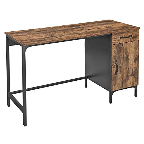 VASAGLE Schreibtisch, Computertisch, Bürotisch mit Schublade und Schrank, Wohnzimmer, Schlafzimmer, Arbeitszimmer, Homeoffice, einfacher Aufbau, Metall, Industrie-Design, Vintage, dunkelbraun LWD51X