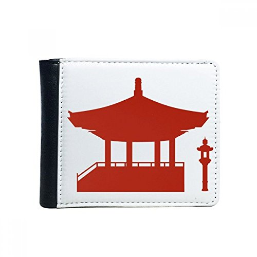 DIYthinker China-Pavillon Kultur Silhouette Illustration Muster-Schlag-Bifold-Leder-Mappen-Multifunktions-Karten-Geldbeutel-Geschenk Mehrfarbig