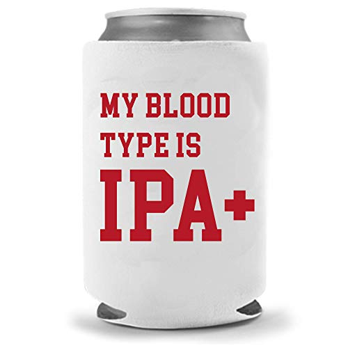 Cool Coast Products   Blood Type IPA+   Funny America Beer Can Coolies   Neoprene Insulated Soft Can Cooler   Beverage Cans Bottles   Cold Beer Tailgating Beer Gifts (Blood Type IPA)
