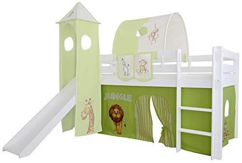 Mobi Furniture 3tlg. Vorhang Set Höhle Dschungel für Hochbett Spielbett Vorhänge Kinderbett