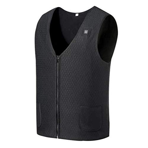 VOSAREA Elektrisch Verwarmd Vest Heren Heater Pad Winter Donsvest Verwarmingsvest Bodywarmer Thermische Kleding Voor Winter Outdoor Wandelen Vissen (Zwart Xxxl)