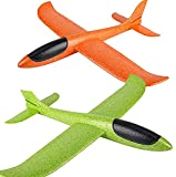 Americas Toys Airplane Toy Outdoor Glider Kids Activity Game Boys Girls Pack of 2 Foam Throwing Planes (Orange/Green)