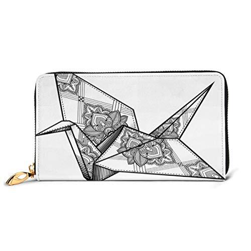 Women's Long Leather Card Holder Purse Zipper Buckle Elegant Clutch Wallet, Origami Style Crane Bird Design Hand Drawn Monochrome Far East Asia Folklore Motif,Sleek and Slim Travel Purse