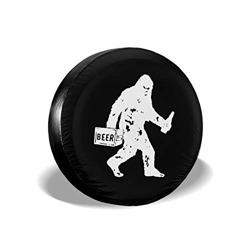 JT270 Trendy Style Dustproof and Waterproof Tire Cover,Drunk Bigfoot Beer Universal Tire Covers for Jeep,Trailers,Rvs,Suvs,Trucks and Many Vehicles(14,15,16,17 Inch)