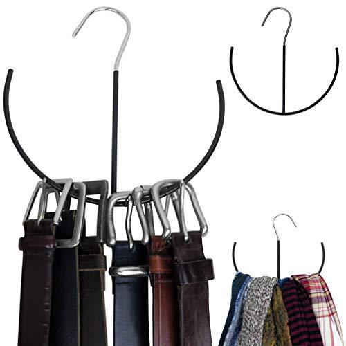 Evelots TieBeltScarf HangerHook-Non Slip-Metal- Closet Space Saver-Set2