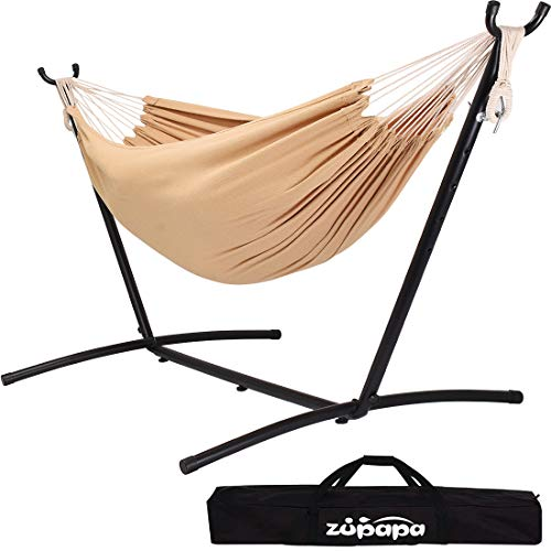 Zupapa Double Hammock with Stand and Carrying Case, 10Feet Portable Hammock Frame, 2 People Hammock Combo for Backyard Garden Camping Patio Indoor Outdoor