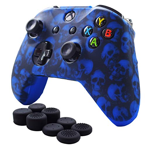 Pandaren Xbox One Controller Grips,Anti-Slip Silicone Cover Skin Set Compatible for Xbox One S/Xbox One X Controller(Blue Skull Skin x 1 + FPS PRO Thumb Grips x 8)