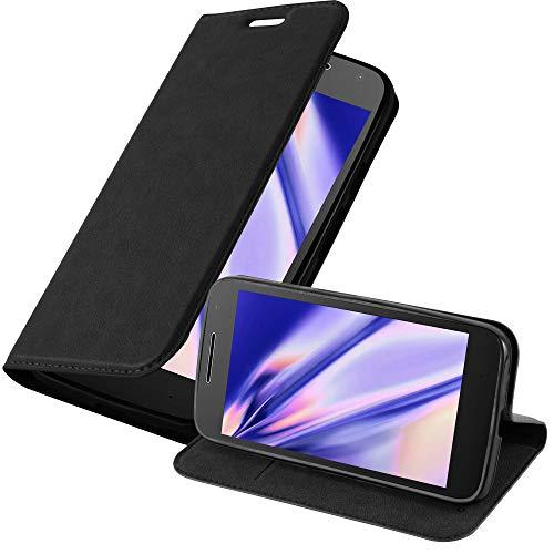 Cadorabo Hülle für Motorola Moto G4 Play in Nacht SCHWARZ - Handyhülle mit Magnetverschluss, Standfunktion & Kartenfach - Hülle Cover Schutzhülle Etui Tasche Book Klapp Style