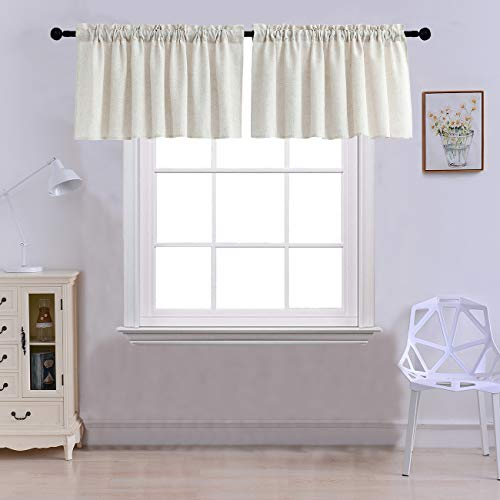 Curtain Valances for Windows Burlap Linen Window Curtains for Kitchen Living Dining Room 52 x 18 inches Rod Pocket Set of 2 Crude