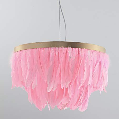 AZHom Einzel Kronleuchter Feder Kronleuchter Schlafzimmer Dekoration Atmosphäre Kronleuchter 41 * 30cm Rosa (Color : Pink)