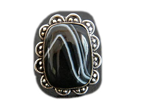 The Best Jewellery Black Bended Botswana Agate Ring, Silver Plated Ring, Handmade Ring, Women Jewelry, Gemstone Ring (Size- 9.25 USA) BRS-11873