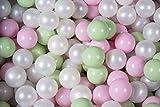 MEOWBABY 100 ∅ 7Cm Palline Colorate per Bambini per Piscina di Palline Fabbricato in EU Bianco/Rosa Pastello/Verde Chiaro