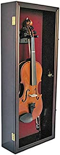 Fiddle, Violin Display Case Shadow Box with Hanger, with Lock (Mahogany Finish)