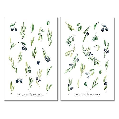 Oliven Sticker Set   Florale Aufkleber   Journal Sticker   Planersticker   Sticker Pflanzen   Sticker Natur, Garten