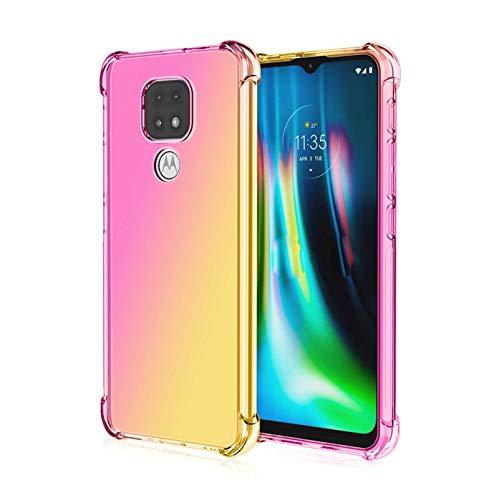 GOGME Cover per Motorola Moto E7 Plus/Moto G9 Play Cover, Custodia in TPU a Gradiente Colori, [Rinforzare la con Quattro Angoli] Trasparente Silicone Morbida TPU Ultra Sottile Case (Rosa/Oro)