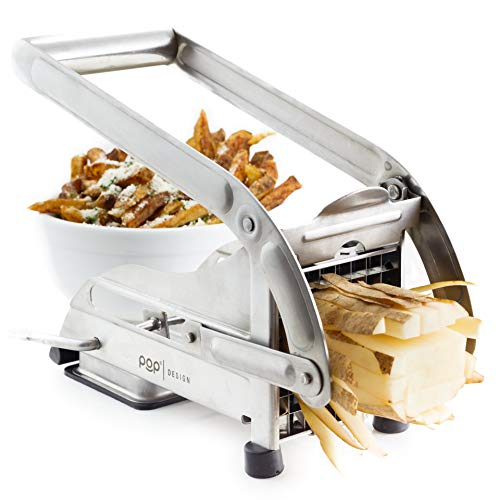 POP AirFry Mate, Stainless Steel French Fry Cutter, Commercial Grade Vegetable and Potato Slicer, Includes 2 Blade Size Cutter Options and No-Slip Suction Base, Perfect for Air Fryer Food Preparation