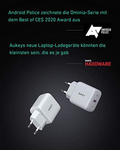 AUKEY Omnia 61W Ladegerät USB C PD-Ladegerät mit GaNFast-Technologie, MacBook Pro Ladegerät, USB C Netzteil Power Delivery 3.0 Laptop Ladegerät für MacBook Pro/Air, iPhone 11 Pro, Dell XPS 13 (Weiß)