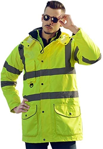 Waterdichte Safety Vesten heren gilet Regenjas En Pant Reflecterende Safety Raincoat For Work Outdoor Activity Zichtbaarheid Vest for Lopen Fietsen XMJ (Size : L)