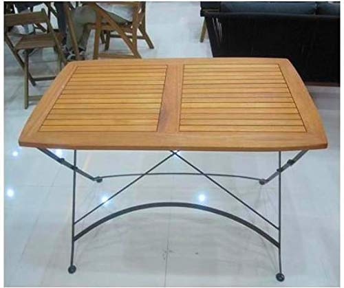 Amicasa. Tavolo da Giardino Pieghevole in Legno 120x70 h Colore Marrone Modello Colonia