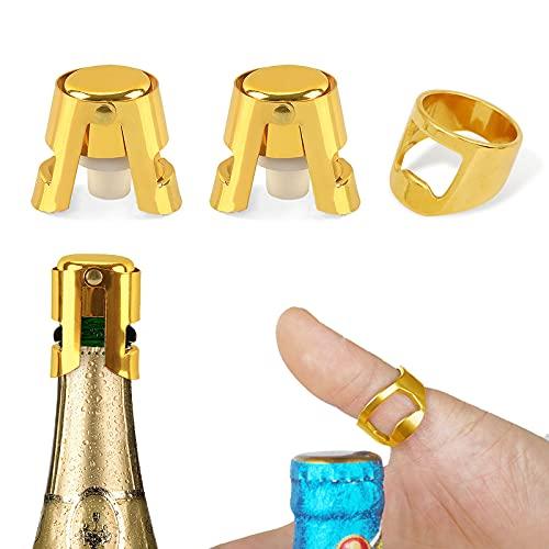 Sdoowes 2 Piezas Tapón para Botella Champagne 1 Anillo Abridor de Botellas Acero Inoxidable Abrebotellas Anillo Metálico con Sellador de Botellas para Cava prosecco y vino espumoso