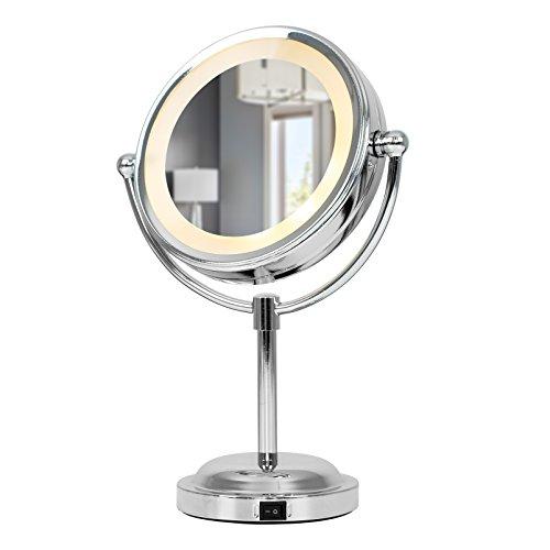 Specchio con luci a LED interni – regolabile, rotondo, colore cromo, operato a batteria, con ingrandimento – per bagno