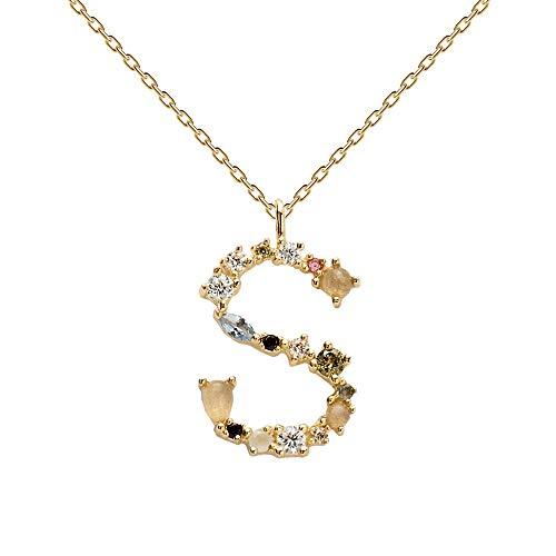 PDPAOLA - Collana Lettera S - Argento Sterling 925 Placcato in Oro 18 carati - Gioielli per Donna
