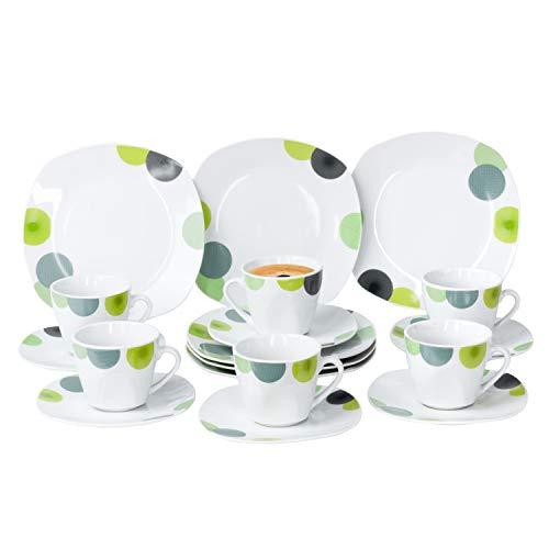 Van Well | 18-TLG. Kaffeeservice Rondo | Kaffeetassen + Untertassen + Kuchenteller | abstrakte Retro-Kreise grün-gelb | edles Porzellan-Geschirr