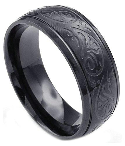 Aooaz anello in acciaio inox per uomo modello classico nero anello retrò anello di fidanzamento uomo sposa gotica taglia