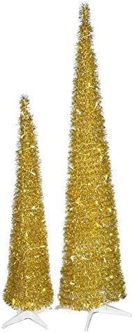 trust 5 Ft. and 7 Gold Tinsel Lights LED Trees Pull-Up Latest item with