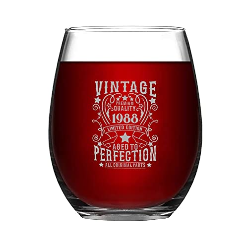 Vintage Premium Quality 1988 Years Wine Glasses Stemless Custom Wine Glasses Funny Party Decorations Novelty Glass Tumbler Anniversary Ideas for Husband Birthday Friends Bar Gifts