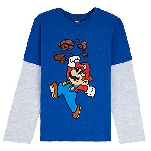 Super Mario T Shirt per Bambino, Maglietta Manica Lunga Nintendo, Abbigliamento Ragazzo, Magliette in Cotone per Bimbo 3-13 Anni, Idea Regalo Compleanno (9-10 Anni, Blu/Grigia)