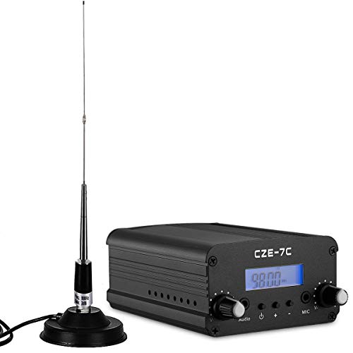 FM Transmitter for Church, Aupabu 1w / 7w Long Range Wireless Stereo Broadcast Modulator with Car Antenna for Drive in Parking Lot, Radio Station, Movie